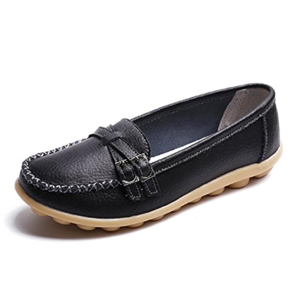 NEOKER Mocassins Femme Cuir Casuel Confort Slip On Espadrilles Conduite Chaussures Compensées Plate Noir Multicolors 34-44 2018