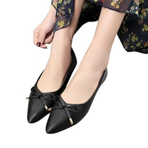 OverDose Ballerines en Cuir Pointure Large, Chaussures Plates Femme Mocassins avec Nœud Mules Casual Flat 2018