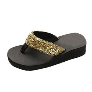 OverDose Tongs Femme Compensées, Été Sandales Plates Chaussures Plateforme Paillettes Flip-Flops 2018