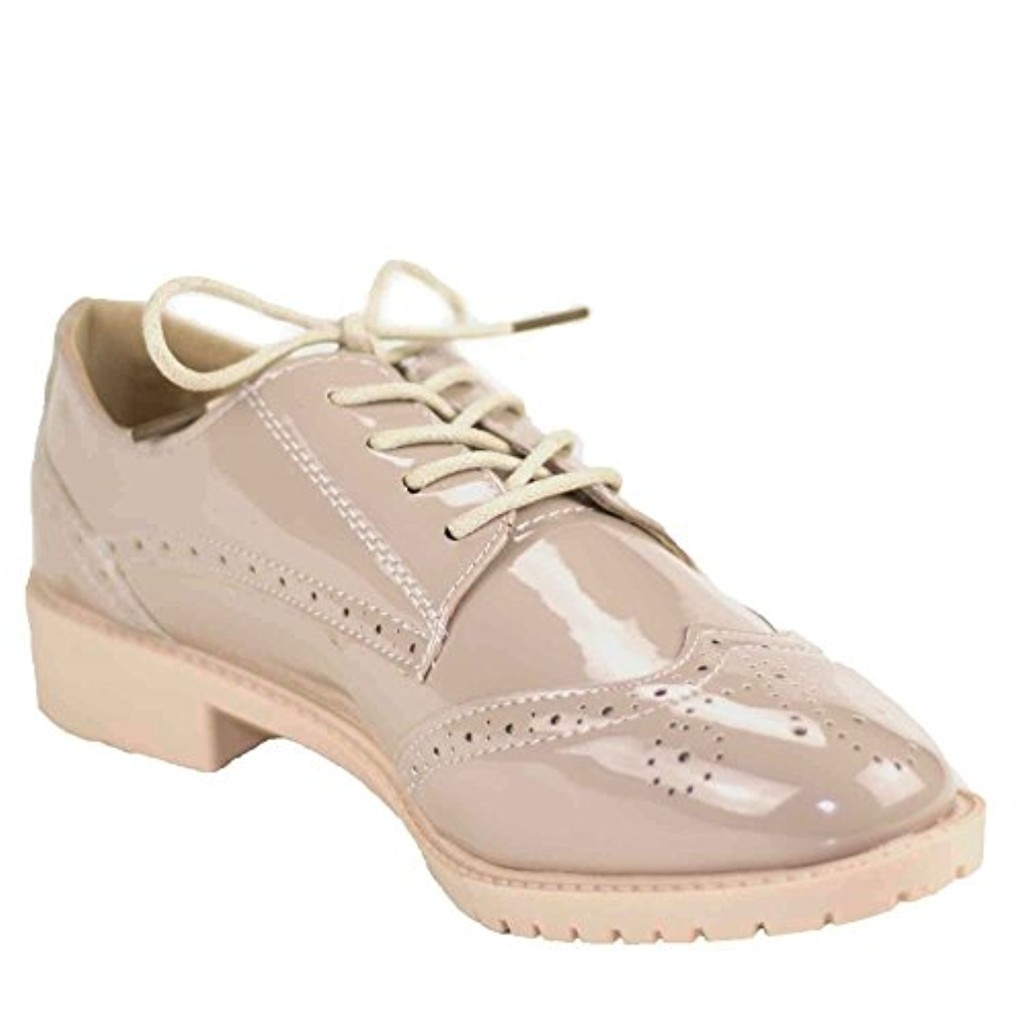 Primtex Derbies Femme Verni Nude Rose Simili Cuir- 2018