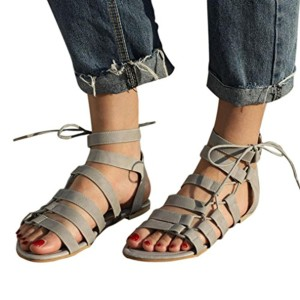 Sandales Bandage Femme Bohême Chaussures Peep-Toe Plates Sandales à Bride Romaine GreatestPAK 2018