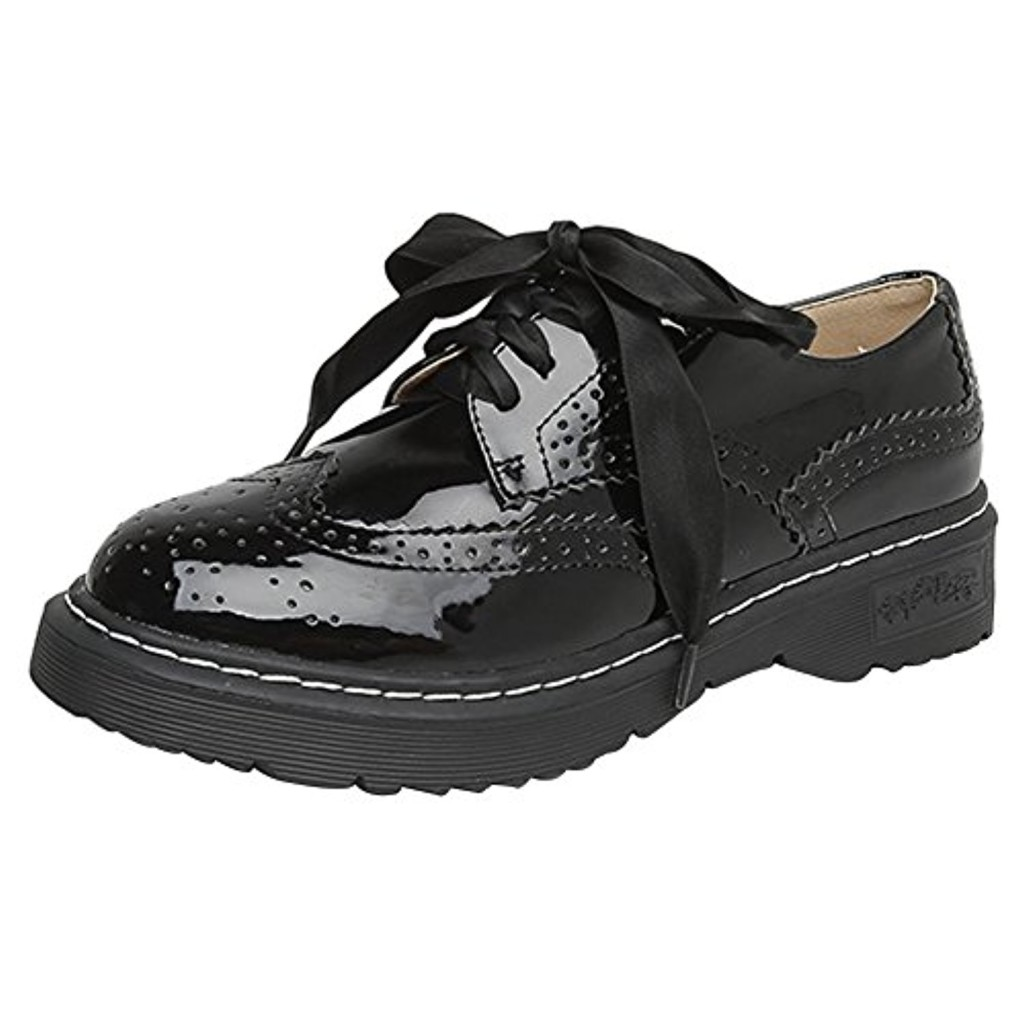wealsex Chaussures de Ville à Lacets Cuir Vernis Noir Lacets en Satin Derbies Style Bullock Rétro Chaussures Décontractées Plate Femme 2018