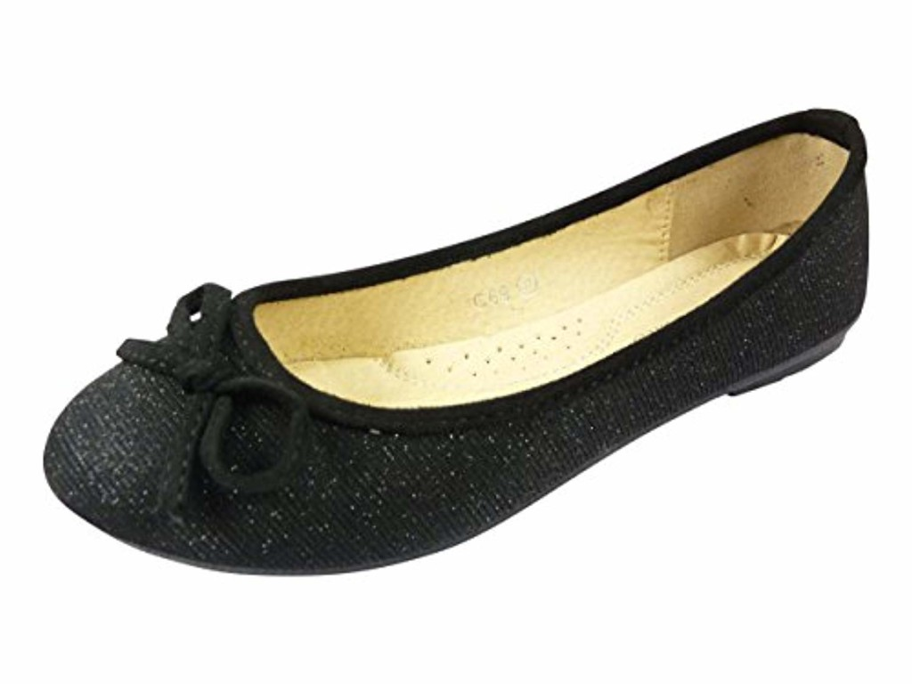 Chaussmaro Ballerines en toile et brillante à noeud chaussure femme, bout rond 2018