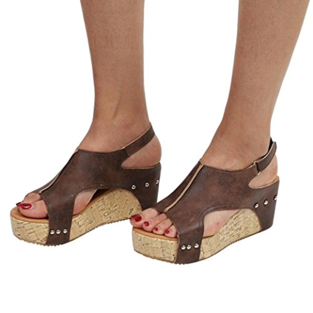 Chaussures Plates Compensées en Cuir,Overdose Été Espadrilles Femme Talon Haute Peep Toes High Heels Avec Boucles 2018