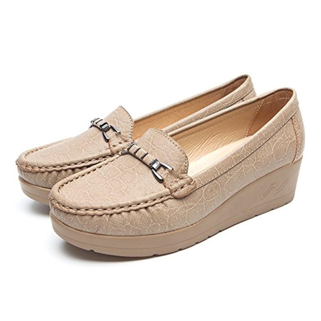 Chaussures Plates Cuir Mocassin pour Femmes - Cendfini Mesdames Mocassins Confortables, Surface en Cuir de Crocodile Classique, Le Travail Et I'usure Quotidienne 2018