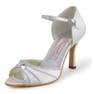 Elegantpark EL-033 Strass Pliez Satin Bout Ouvert Aiguille Talon Pumps Femme Sandales Chaussures de Mariage 2018