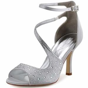ElegantPark HP1505 Escarpins Femme Bout Ouvert Diamant Btide Cheville Boucle Sandales Chaussures de mariee Bal 2018