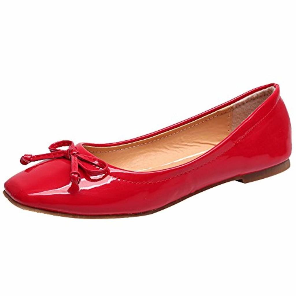 Jamron Femmes Doux Brevet PU Cuir Loisir Chaussures Dolly Poids Léger Résistant à L'Eau Ballerines Avec Un Gentil Bowknot 2018