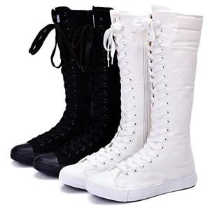 Jamron Filles Femmes Mode Genou Haut Lacer Bottes de Toile Pur Blanc Noir Fermeture Eclair Chaussures de Danse 2018