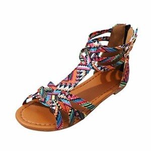 JIANGfu Femme Sandales Été Chaussures Plat Mode Bohème Sandales de Style Ethnique Sandales Plates Chaussures Boucle Rome Pantoufles 2018