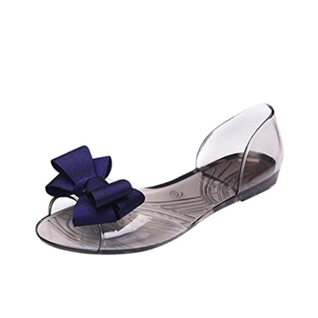 LUCKYCAT Prime Day Amazon, Sandales d'été Femme Chaussures de Été Sandales à Talons Chaussures Plates À la Mode Nœud Papillon Bouche de Poisson Transparent Sandales en Cristal 2018 2018