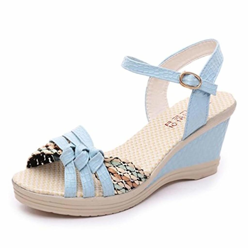LUCKYCAT Prime Day Amazon, Sandales d'été Femme Chaussures de Été Sandales à Talons Chaussures Plates Bohême Femmes Wedges Chaussures Sandales d'été Platform Toe Chaussures à Talons 2018