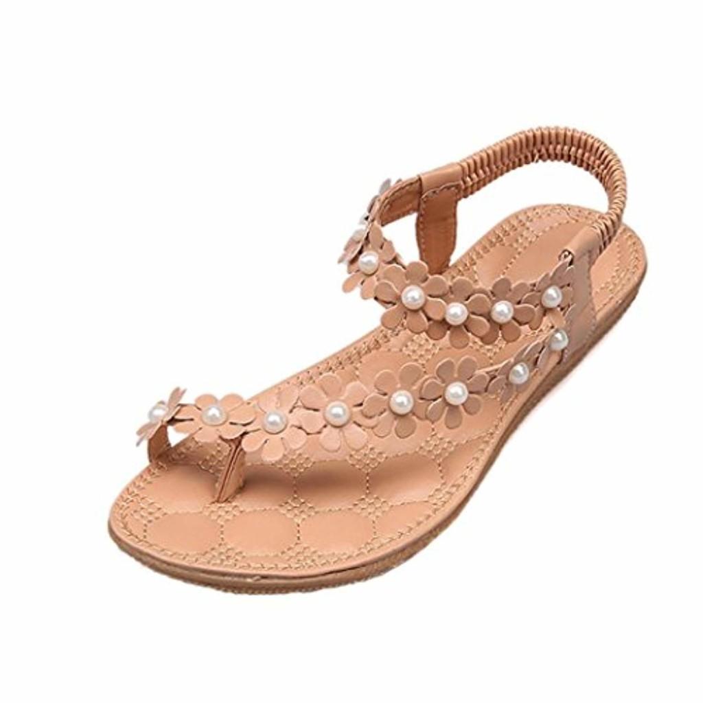 LUCKYCAT Prime Day Amazon, Sandales d'été Femme Chaussures de Été Sandales à Talons Chaussures Plates Bohème Perles de Fleur Chaussures Flip Fleurs Pantoufles Chaussures de Plage 2018 2018