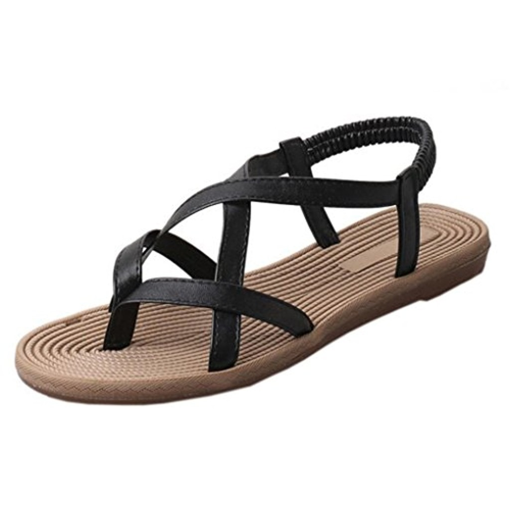 LUCKYCAT Prime Day Amazon, Sandales d'été Femme Chaussures de Été Sandales à Talons Chaussures Plates Casual Sandales Bout Ouvert Chaussures d'extérieur Sangles Croisées 2018 2018