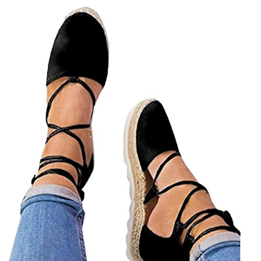 LUCKYCAT Prime Day Amazon, Sandales d'été Femme Chaussures de Été Sandales à Talons Chaussures Plates Chaussures de Toile Pointu Bandages Fond de Paille Chaussures à Talon Moyen 2018