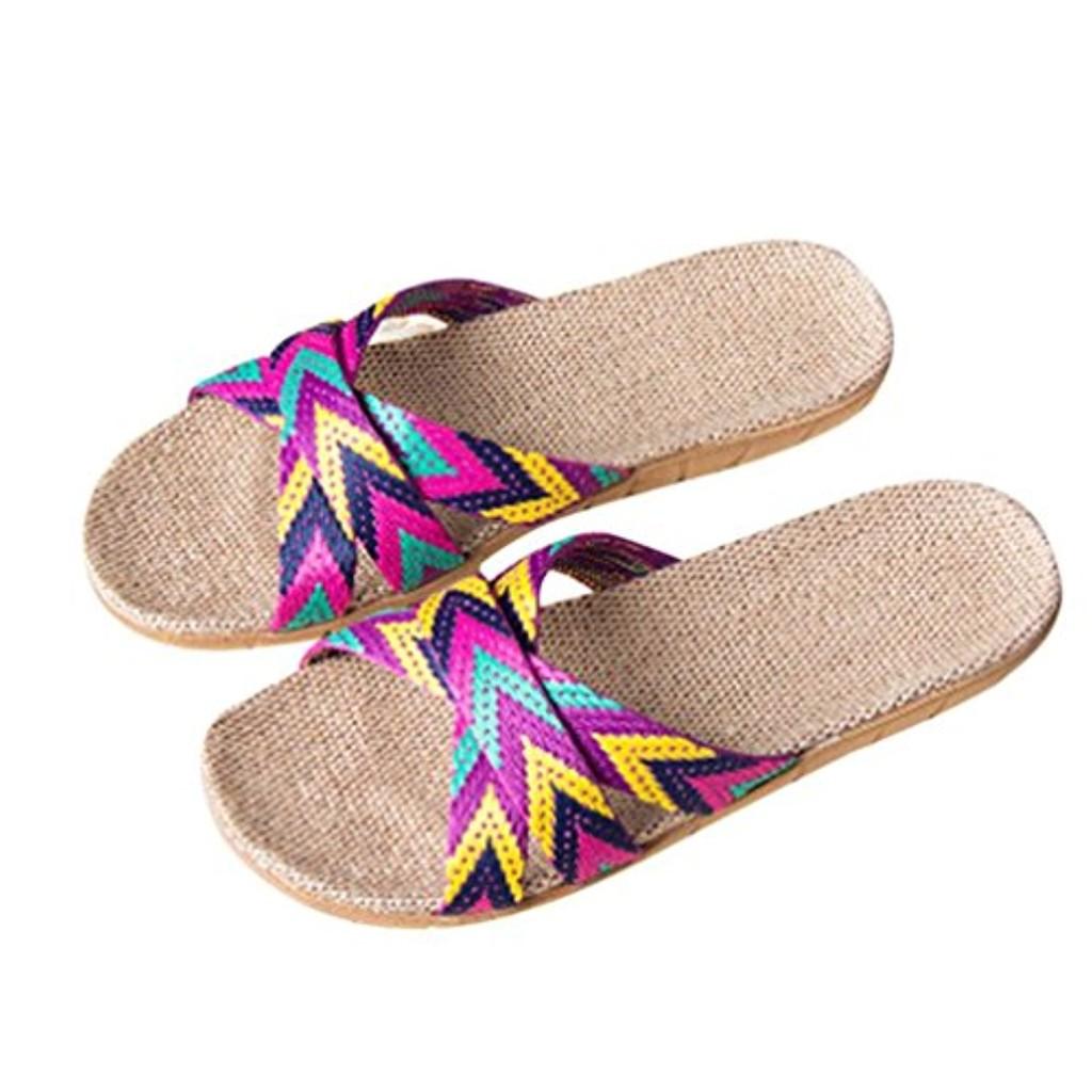 LUCKYCAT Prime Day Amazon, Sandales d'été Femme Chaussures de Été Sandales à Talons Chaussures Plates Mme Hommes Anti-Dérapant Lin Intérieur Intérieur Summer Toe Flats Pantoufles 2018