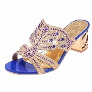 LUCKYCAT Prime Day Amazon, Sandales d'été Femme Chaussures de Été Sandales à Talons Chaussures Plates Mode Talon Gao Décoration de Diamant Mode Chaussures Pieds Nus 2018 2018
