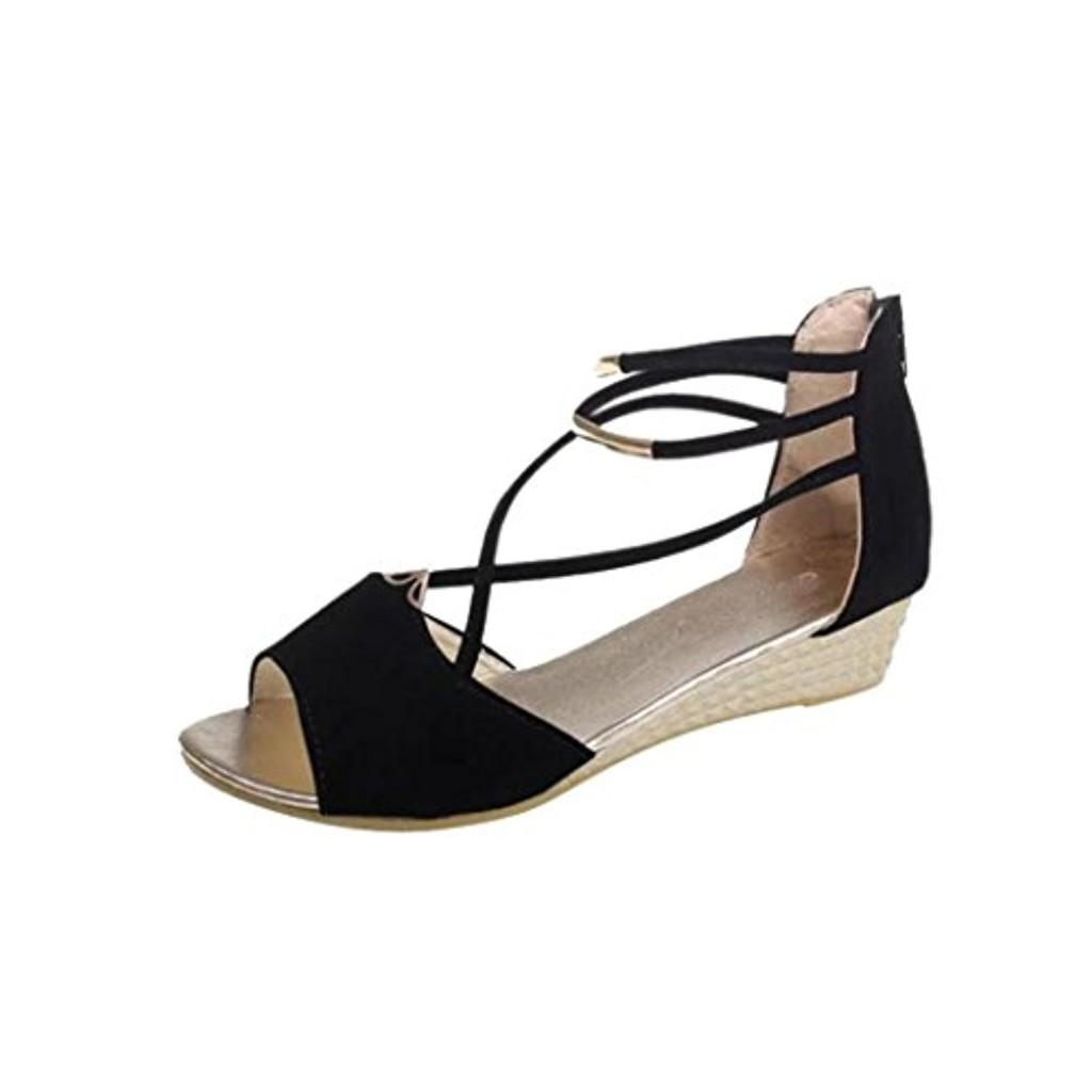 LUCKYCAT Prime Day Amazon, Sandales d'été Femme Chaussures de Été Sandales à Talons Chaussures Plates Peep Orteils Wedge avec Croix Bandages Chaussures Romaines 2018 2018