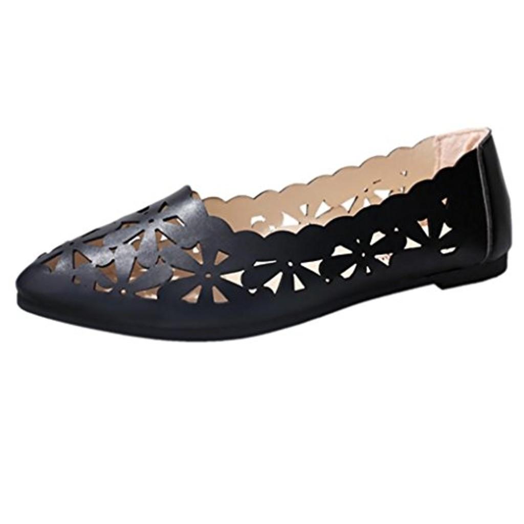 LUCKYCAT Prime Day Amazon, Sandales d'été Femme Chaussures de Été Sandales à Talons Chaussures Plates Talons Plats Peu Profonds Fleur Creuse Chaussures Nues Chaussures Pointues 2018 2018