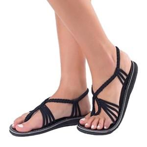 LUCKYCAT Prime Day Amazon, Sandales d'été Femme Chaussures de Été Sandales à Talons Chaussures platesSweet Perlé Noir Noué Style Bohème Chaussures de Plage Pantoufles 2018