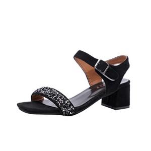 LUCKYCAT Sandales d'été Femme, Prime Day Amazon Chaussures de Été Sandales à Talons Chaussures Plates Cristal Film Glitter Tête Carrée Orteils Nus. Talon Haut 2018 2018