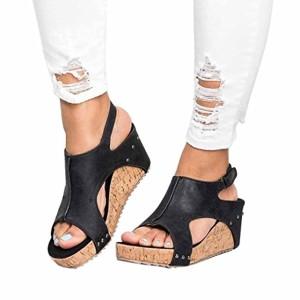 LUCKYCAT Sandales d'été Femme, Prime Day Amazon Chaussures de Été Sandales à Talons Chaussures Plates Pente Rivets Bouche de Poisson Bohême Talons Hauts 2018 2018