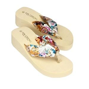 LUCKYCAT Sandales pour Femme, Prime Day Amazon Chaussures de Été Sandales à Talons Bohême Sandales de Plage à Fleurs Fond Plat Thong Pantoufles Talon Haut Multi-Couleur en Option 2018 2018
