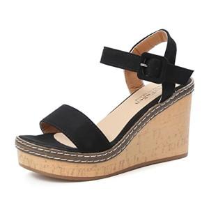 LUCKYCAT Sandales pour Femme, Prime Day Amazon Chaussures de Été Sandales à Talons Bouche de Poisson Plateforme Talons Hauts Pente Boucle de Sandales Sandales Compensées À la Mode 2018 2018