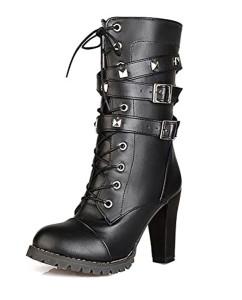 Minetom Femme Mode Rock Rivets Décoration Lacets Bottes Motard Cuir PU Moto Cheville Bottines Chaussures à Talons Hauts Martin Boots 2018
