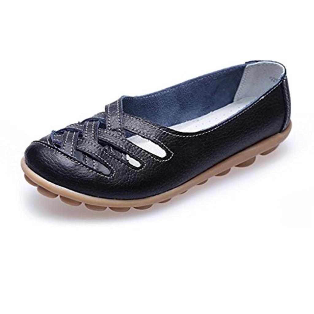 Oriskey Mocassins Femme Cuir Loafers Casual Bateau Chaussures de Ville Flats 2018