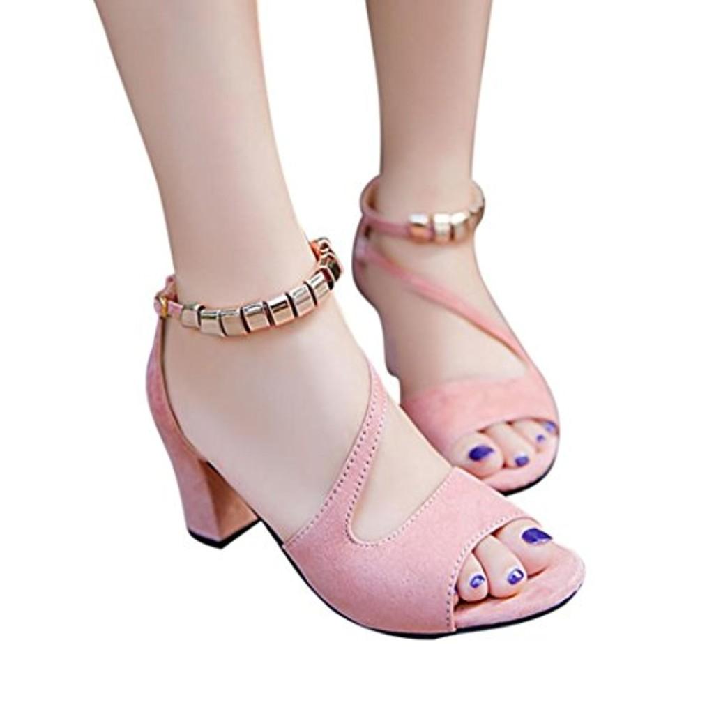 Sandales Femmes, Femmes Couleur Unie Peep Toe Boucle Sandales à Talons Carrés Chaussures à Talons Hauts - Forme Bouche Haute Talons Sandales en Cristal Pente Talon Compensé Tongs 2018