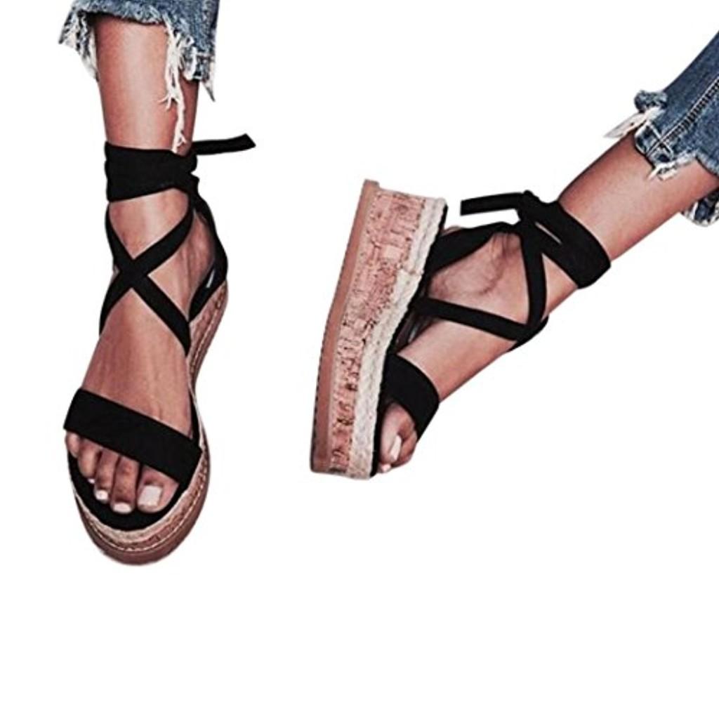 Sandales Plateforme Plate,Overdose Été Femme Chaussures Espadrilles Lacets à Bride Cheville en Cuir Confort Sandals 2018