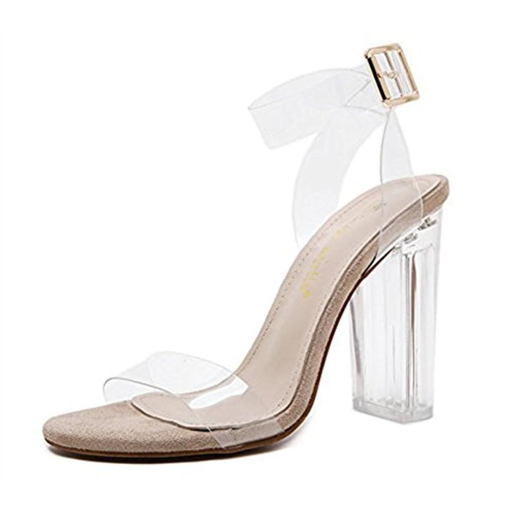 Transparent Sandales à Talons Hauts Clear Chaussure Femmes Boucle Métallique Cristal Escarpins High Heels Élégant Chaussure Été 2018