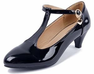 AgeeMi Shoes Femme Escarpins Femme Talon Moyen Boucle Bout Round Chaussures Escarpins Petit Talon Chaussure Vintage 2018