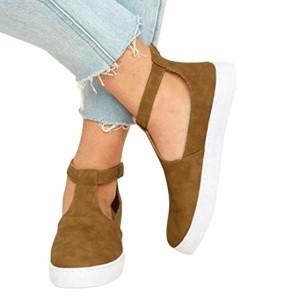 Espadrilles Femme Automne Chaussures Plates Bride Cheville à Boucle en Daim Métallisé Cuir,Overdose Casual Loafers 2018