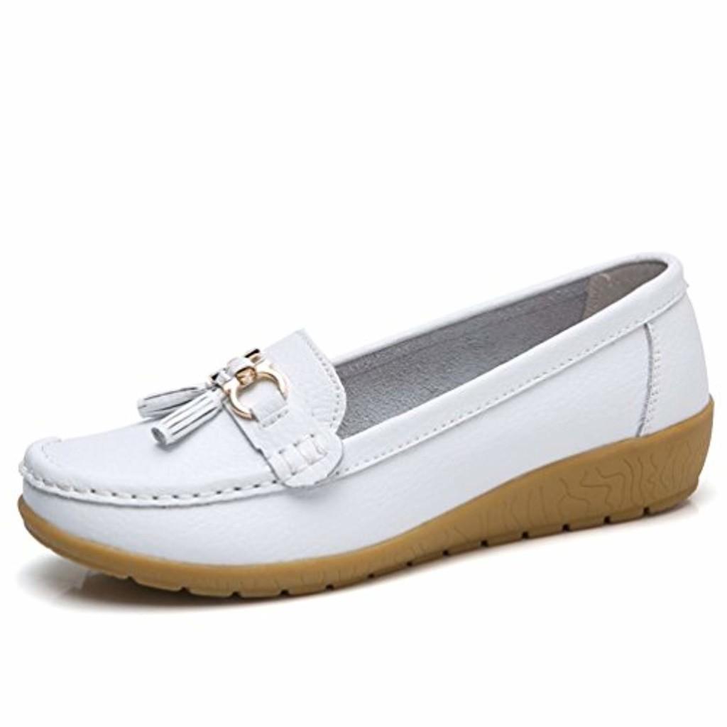 JRenok Chaussures de Printemps Femme Mocassins en Cuir Souple Casual Boucle Confort Chaussures Plates Loafers Antidérapante 35-41 2018