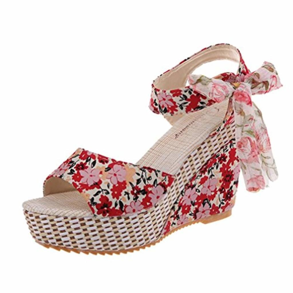 LUCKYCAT Prime Day Amazon, Sandales d'été Femme Chaussures de Été Sandales à Talons Chaussures Plates Impression Florale Peep Orteils Dentelle de Coin Talons Hauts 2018 2018