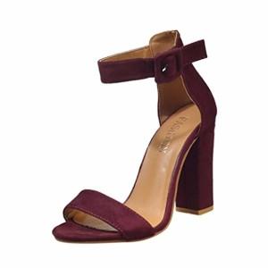 LUCKYCAT Prime Day Amazon, Sandales d'été Femme Chaussures de Été Sandales à Talons Chaussures platesBoucle Ceinture Cheville Commune Talons Hauts Chaussures Carrées Chaussures 2018 2018