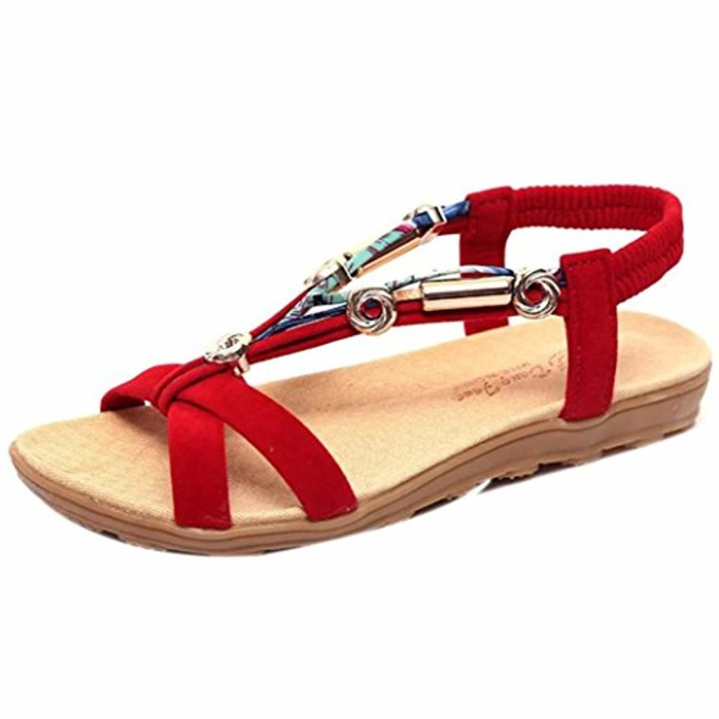 LuckyGirls Sandales D'été pour Femmes, Peep-Toe Romaine Sandales Mode Chaussures Plates pour Dames 2018