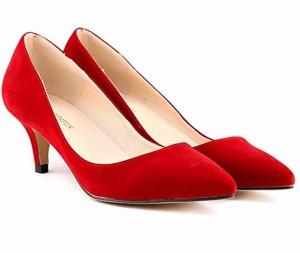 wealsex Escarpins Suédé Talon Moyen Aiguille Bout Pointu Chaussure de Soirée Mariage Couleur Uni Simple Classique Talon 6 Cm Femme 2018