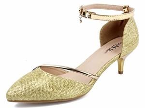 AgeeMi Shoes Femmes Escarpins Petit Talon Sexy Femme Boucle Paillette Chaussures Escarpin doré 2018