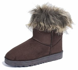 AgeeMi Shoes Femmes Neige Bottes Pluie Fourrure Doublée Hiver Short Suède Chaleureux 2018