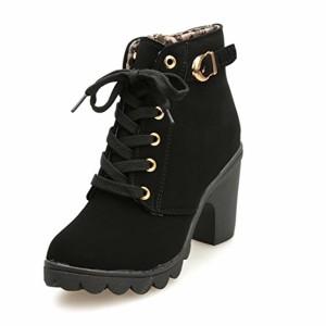 Bottes de Neige Bottines Chaussures Femme,Mode FéMinine Haut Talon Lacent Bottines Dames Chaussures Plate-Forme Boucle GongzhuMM (37, noir) 2018