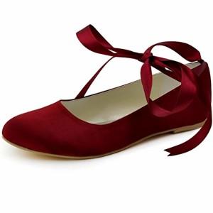 Elegantpark EP11105 Satin avec des rubans Bride chevilles bout Rond Satin Plat Ballerines Chaussures de Mariee Danse 2018