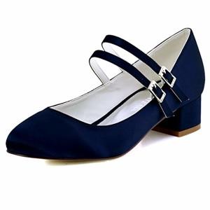 ElegantPark Femmes Fermé Toe Bloc Talon Mary Jane Pompes Satin Chaussures de Mariage Soirée 2018