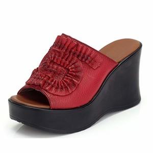 Frestepvie Tongs Compensée Faux Cuir Mode Femme Fille Mule Eté Sandales Plage Comfortable Printemps Eté 2018