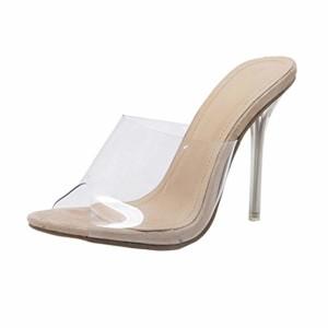 JIANGfu ❤️❤️ Femme Sandales Été Chaussures Plat Femmes Sandales Chaussures d'été Party Crystal Transparent Hhigh Talon Pantoufles Rome Pantoufles 2018