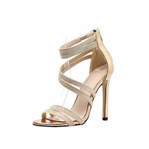 JIANGfu Femme Sandales Été Chaussures Plat Femmes Sandales Summer Shoes Party de Mariage Strass Sexy High Sandals Rome Pantoufles 2018