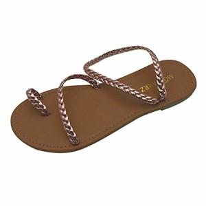 LUCKYCAT Prime Day Amazon, Sandales d'été Femme Chaussures de Été Sandales à Talons Chaussures Plates Bandages Gladiateur Talon Plat Bas Flip Pantoufles Chaussures de Plage Simple 2018 2018