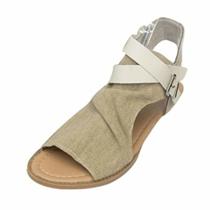 LUCKYCAT Prime Day Amazon, Sandales d'été Femme Chaussures de Été Sandales à Talons Pantoufles de Plage Casual Chaussures Plates Chaussures de Bouche de Poisson Fond Plat Ceinture Pan 2018
